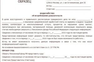 Ходатайство об истребовании доказательств по гражданскому делу: образец