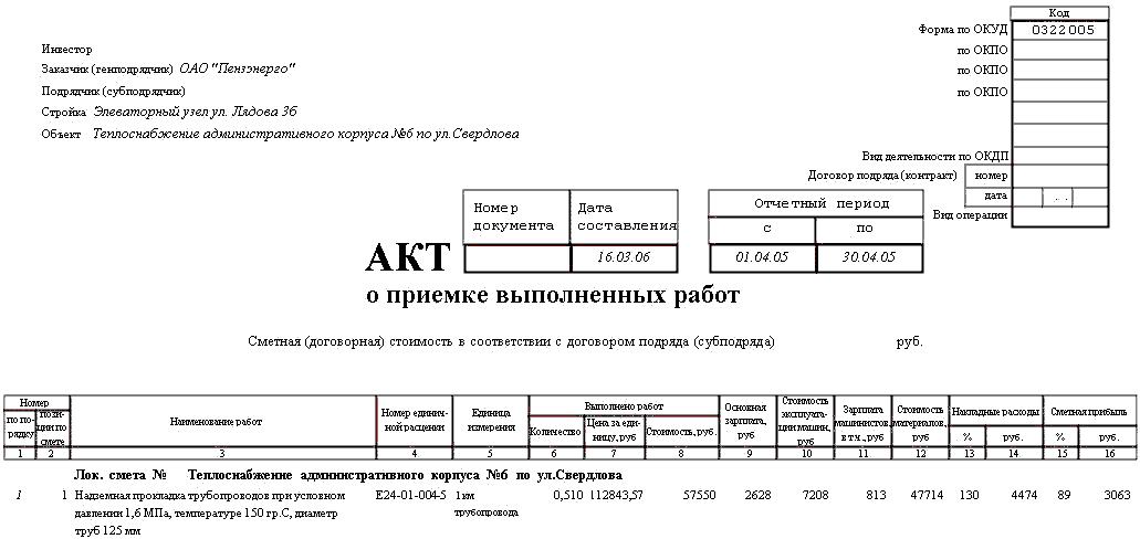 Акт приемки выполненных работ