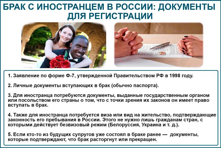 Документы для заключения брака с иностранцами