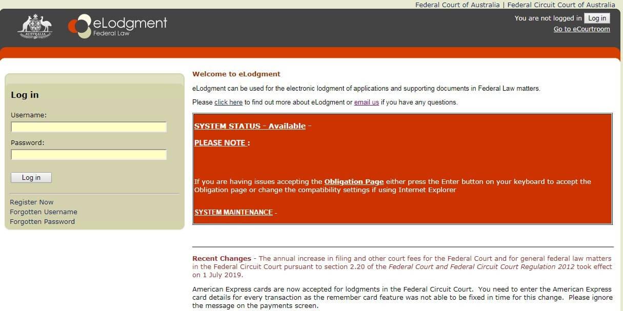 Сайт eLodgement