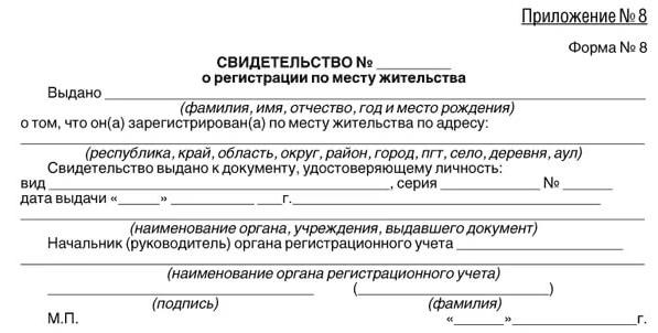 Справка о регистрации по месту жительства