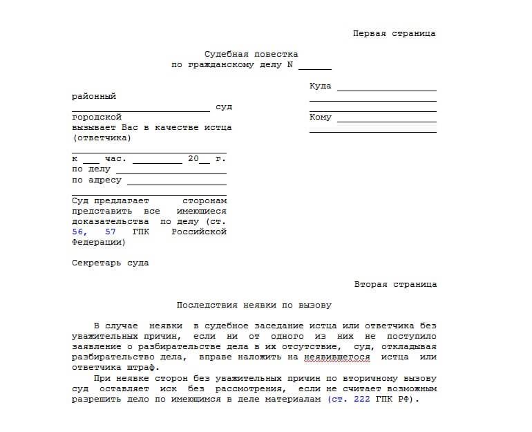 Образец повестки в суд
